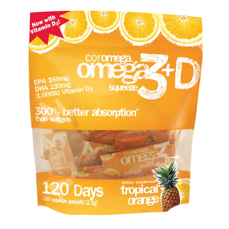 Coromega omega3 squeeze with vitamin d3 for Fish with most omega 3