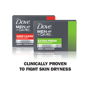 Dove &reg; Men+Care Body and Face Bar - Clinically proven to fight skin dryness
