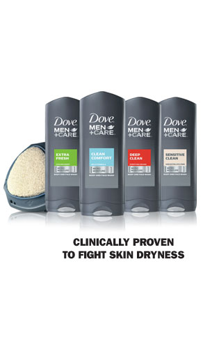 Dove &reg; Men+Care Body and Face Wash- Clinically proven to fight skin dryness