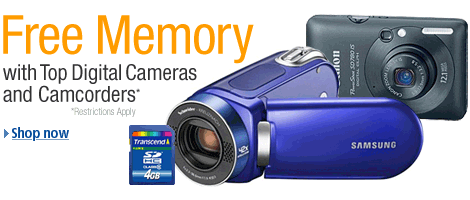Free 4GB Memory Card with Top Digital Cameras and Camcorders from Amazon.com