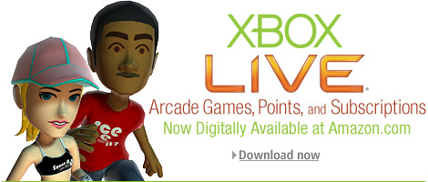 Xbox LIVE Aracade Games, Points, and Subscriptions Now Digitally Available at Amazon.com