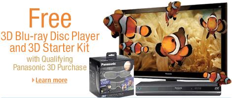 Buy a Qualifying Panasonic GT25 3D Plasma HDTV, Get a Free 3D Blu-ray Disc Player and 3D Starter Kit