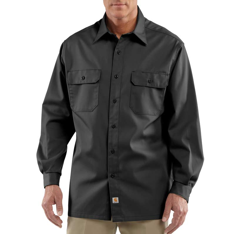 Carhartt men 39 s twill work shirt long sleeve for How do wrinkle free shirts work