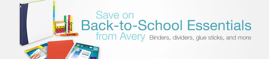 Save on Back-to-School Essentials from Avery: binders, dividers, glue sticks, and more