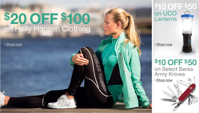 $20 Off $100 on all Helly Hansen Clothing