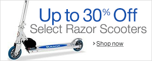 Up to 30% off Razor kick scooters