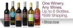 One Winery. Any Wines. Up to 6 Bottles. $9.99 Shipping