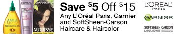 Save $5 Off $15: L'Oreal Paris, Garnier, and Soft Sheen Carson Hair Care and Color
