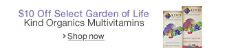 $10 Off Select Garden of Life Kind Organics Multivitamins