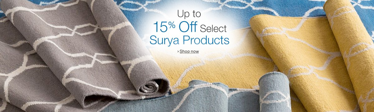 Up to 15% Off Select Surya Products