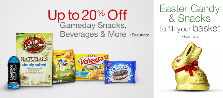 Save up to 20% off snacks, chocolates, beverages, gifts and more