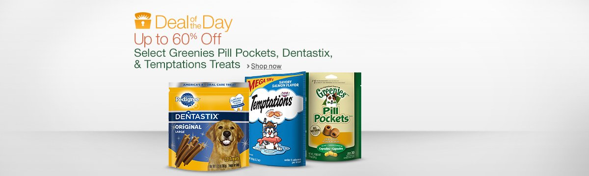 Save Up to 60% On Select Greenies, Dentastix, and Temptations Treats
