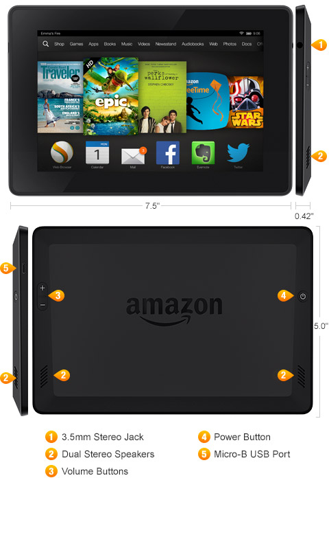 """Kindle Fire HD 7"""", HD Display, Wi-Fi, 8 GB - Includes Special Offers"""