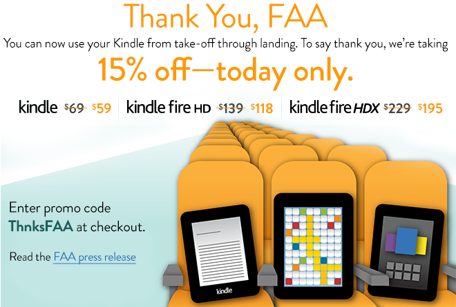 Today Only: 15% Off Kindle, Kindle Fire, and Kindle HDX