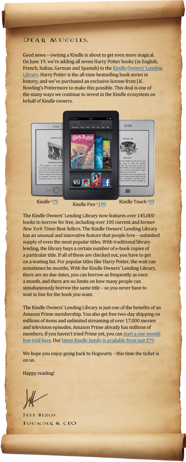 harry potter joining kindle lending library books on the