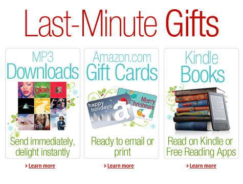 Last-Minute Gifts. MP3 Downloads. Amazon.com Gift Cards. Kindle Books.