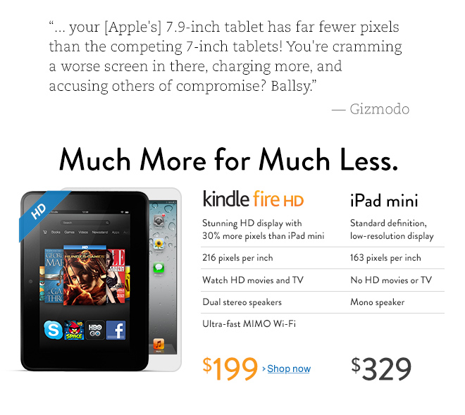 Kindle Fire HD, more for less