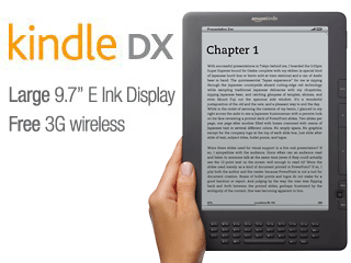 Kindle DX, Free 3G, 9.7″ E Ink Display, 3G Works Globally $169.00