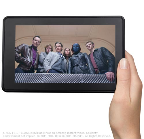 Kindle Fire: landscape view showing movie, held in one hand