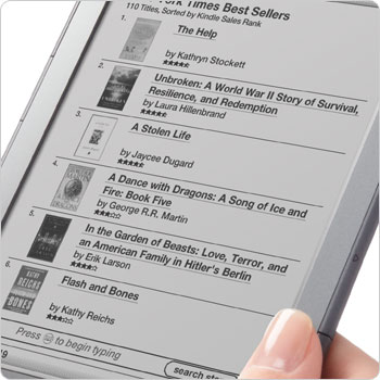 Kindle e-reader showing Kindle Store. Shop the Kindle Store direct from your device.