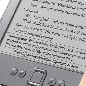 Kindle e-reader showing dictionary. Look up words with built-in dictionary.