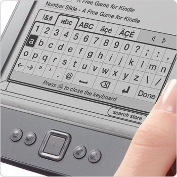 Kindle e-reader showing on-screen keyboard
