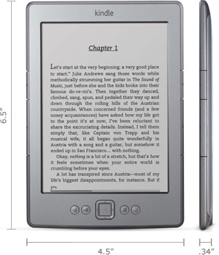 Kindle e-reader: 6.5&quot; x 4.5&quot; x 0.34&quot;