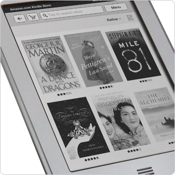 Kindle Touch e-reader showing Kindle Store. Shop the Kindle Store direct from your device.
