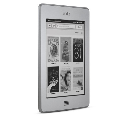 Kindle Touch e-reader: upright, angled to the right