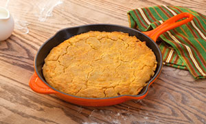Skillet Shown in Flame with Cornbread
