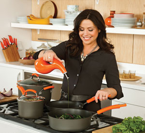 87375 AnodizedCookwarelifestyle300px Rachael Ray Hard Anodized II Nonstick Dishwasher Safe 10 Piece Cookware Set, Orange