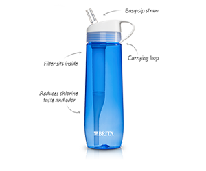 Hard sided filtering water bottle