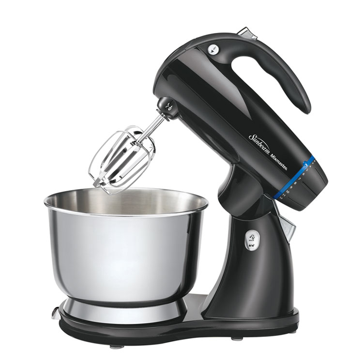 12-speed stand mixer with tilt-back head for easy 4-quart bowl access