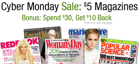 Cyber Monday Sale: $5.00 Magazines, plus spend $30 on any magazines, get $10 back to spend at Amazon.com