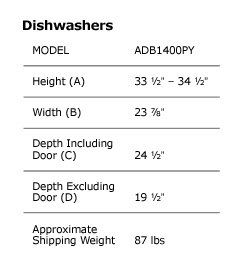Dish Washer Dimensions