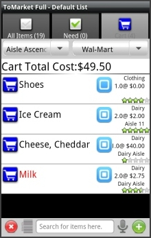 ToMarket Grocery Shopping List