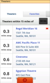 Quickly access nearby theaters