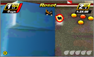 Jump over ramps and collect Nitro power-ups