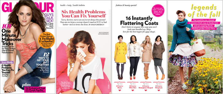 Glamour magazine is packed with articles on beauty, fashion, health
