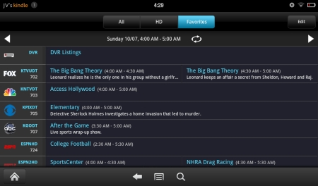 SlingPlayer (Kindle Tablet Edition)