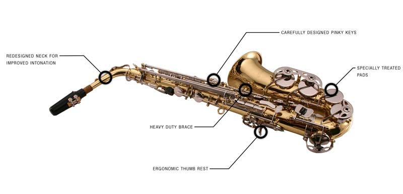 Features of the LJ Hutchen Eb Alto Saxophone