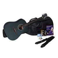 Silvertone SD10 Acoustic Guitar Package, Black