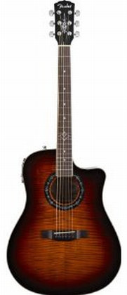 Fender T-BUCKET-300CE Dreadnought Acoustic-Electric Guitar, Flame Maple Top, 3 Tone Sunburst