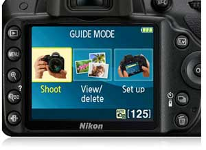 image of Guide Mode menu on D3200 HD-SLR's LCD