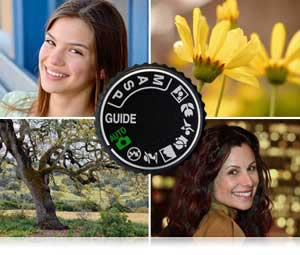 Nikon D3200 24.2 MP CMOS Digital SLR Camera 18-55mm Mode dial of D3200 and images of a yellow flower, portrait of girl, night portrait of girl and landscape taken with Nikon D3200 HD-SLR