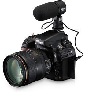 Nikon D800 with attached microphone