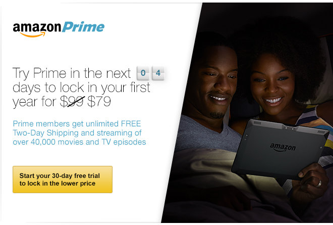 Try Prime in the next 4 days to lock in your first year for $79