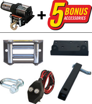 The Champion Winch 12002 includes 5 bonus accessores!