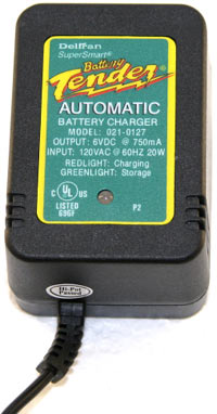 Close up of the Deltran Battery Tender Junior 6V Battery Charger
