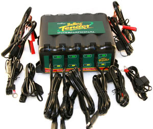 The Deltran Battery Tender 12-volt/2-amp 4-Bank Battery Management System with alligator clips, ring terminal, output cord